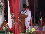 Wali Kota Balikpapan Rahmad Mas'ud bertindak sebagai inspekturUpacara pada Peringatan HUT Ke -76 Kemerdekaan Republik Indonesia yang berlangsung di halaman kantor Wali Kota Balikpapan pada Selasa (17/8/2021) sekitar pukul 09.30 Wita. Foto : HO/Diskominfo.