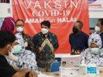 APINDO Kalimantan Timur bersinergi bersama BPJS Kesehatan serta instansi lainnya menggelar kegiatan vaksinasi bagi 2.500 orang. Kamis (9/9/2021). Foto : HO.