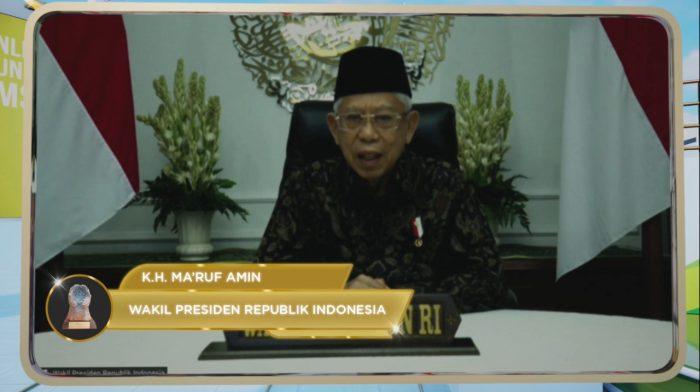 Wakil Presiden Republik Indonesia Ma'ruf Amin Hadiri Langsung Penganugerahan Paritrana Award 2020 secara daring melalui kegiatan webinar. Foto : HO.