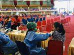 Kegiatan vaksinasi Pelajar dosis pertama yang diselenggarakan oleh Dinas Kesehatan Kota (DKK) Balikpapan di BSCC Dome, Jum'at (1/10/2021). Foto : BorneoFlash.com/Muhammad Eko.
